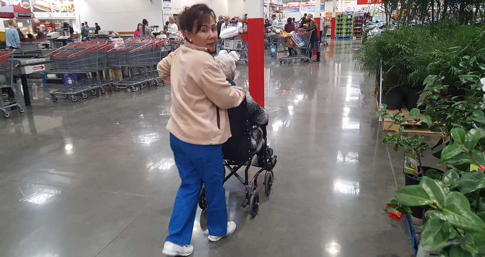 Rosie taking charge of Mom in Costco