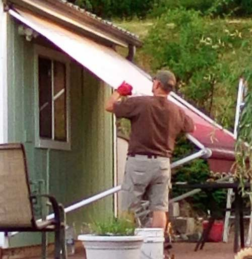 Putting the awning away
