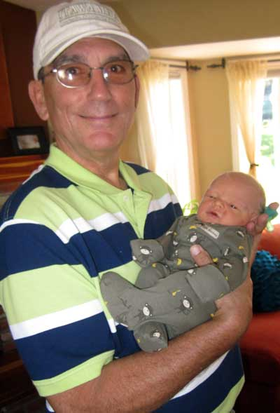 Dale with five day old Noah