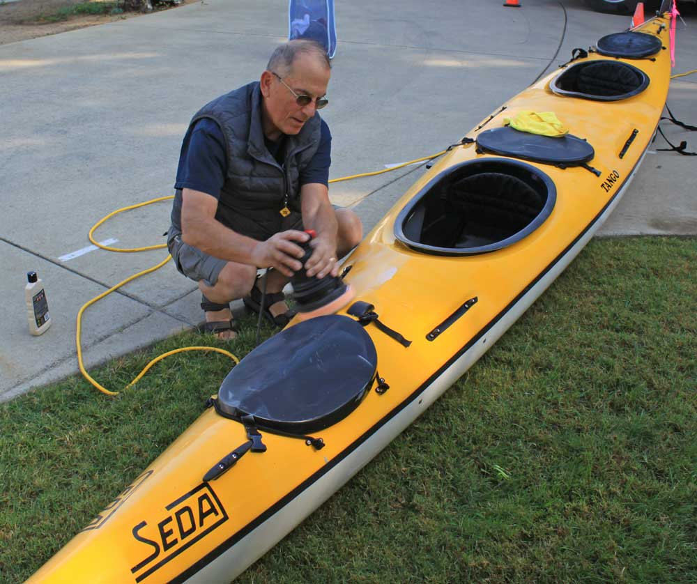 Cleaning up the kayak