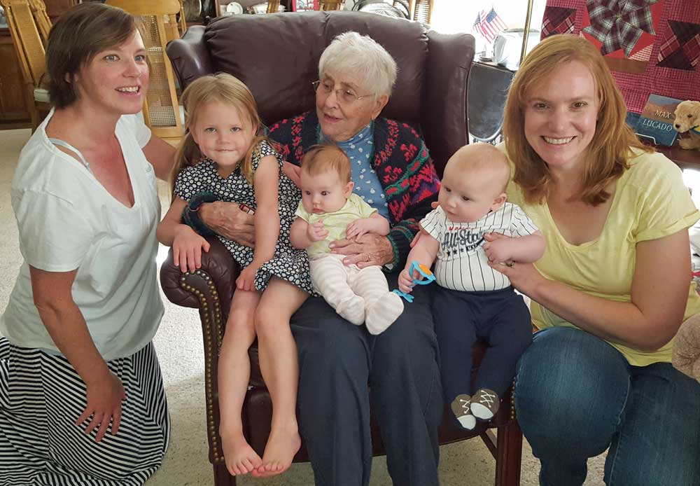 Great Grandma visits with the great grandchildren