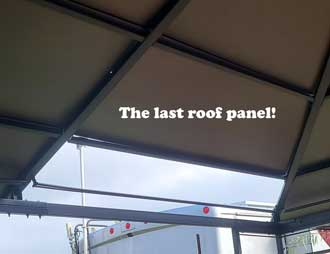 The last roof panel to install