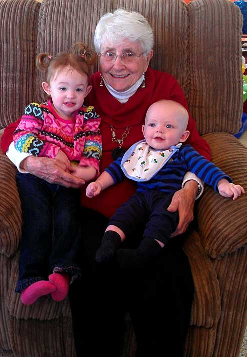 Great grandma with the great- grandkids