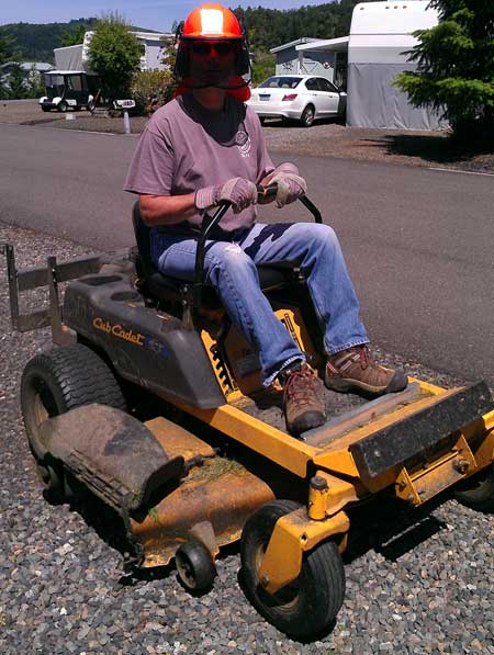 Driving a zero turn mower