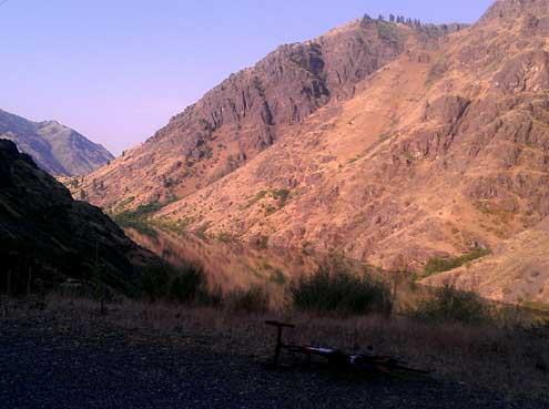 Riding Hells Canyon Dam road