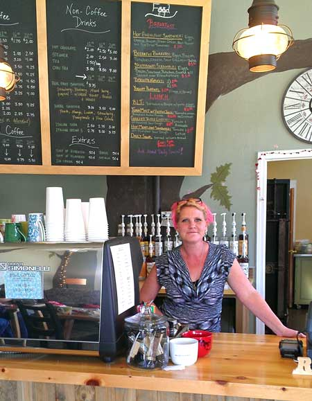 Stephanie, the new owner of The Hollow Coffeehouse in Oakland, Oregon