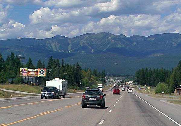 Entering Whitefish Montana with the Whitefish Ski Resort in the distance