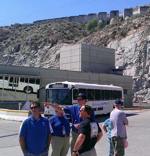 Our tour group outside and on top of the dam