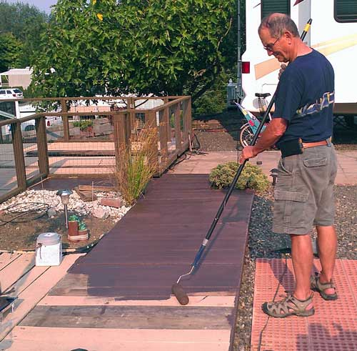 Painting the douglas fir deck