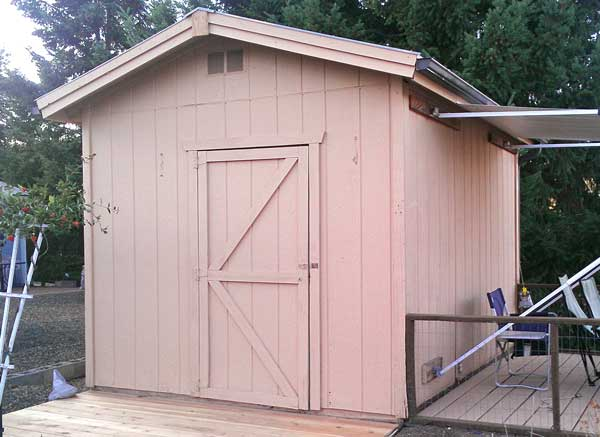 Our shed before the new paint job