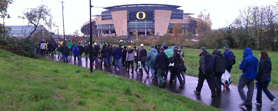 Approaching Autzen Stadium  from the south