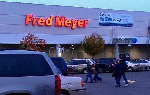Fred Meyer's parking lot was full at 7:00 am but didn't seem crowded inside