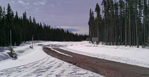 The north entrace to Crater Lake won't open for a few more months. Mt. McLoughlin behind from the east looking west.