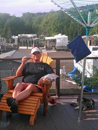 Relaxing on my deck