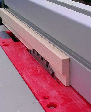 Creating a rail using the zero clearance insert on the saw