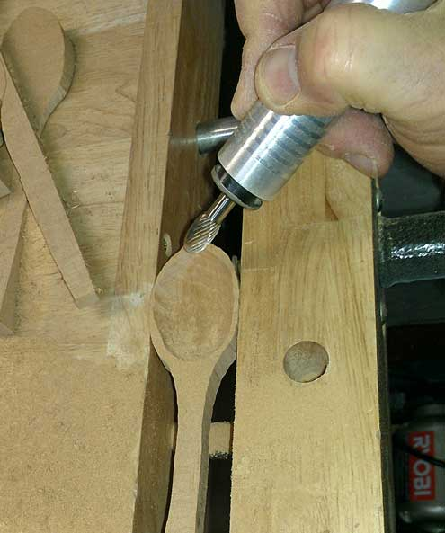 Shaping a spoon using a Foredom power tool
