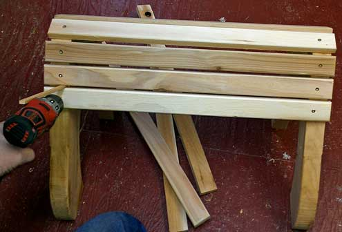 Assembly of the adirondack stool in progress