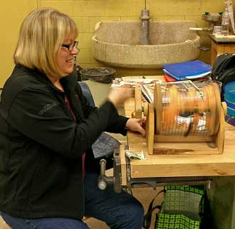 At the woodturning club, spinning the raffle tickets looking for winners
