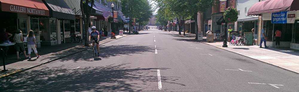 The first Roseburg Open Streets event, Behind: Chalk drawing on a downtown street