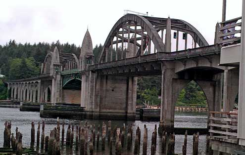 The historic Florence bridge over the Siuslaw River