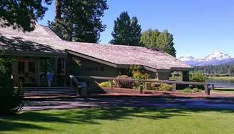 The Black Butte Ranch Lodge and Restaurant, Behind: Entrance to the restaurant.