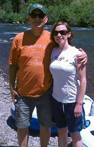 My daughter Mindy with Dad, ready to float the Truckee