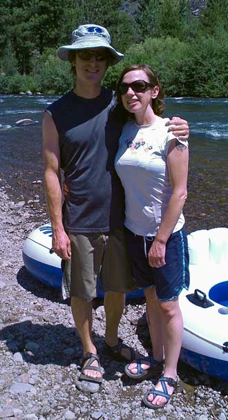 Mindy with husband Scott, ready to float the Truckee