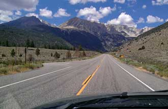 "Ascending 9,943 ft Tioga Pass, Behind: The summit is ""just around the corner""."