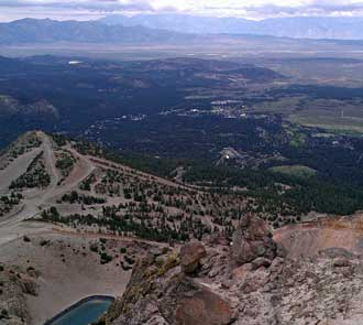 The city of Mammoth Lakes in the distance; Behind: a Panorama of Mammoth Lakes and the view east