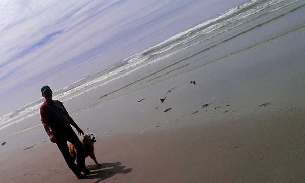 I'm walking Morgan on the Tillicum Beach, Behind: Miss Scarlet at the Yachats State Beach
