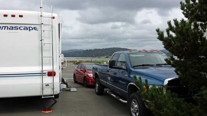 Parked at the Mill Casino RV Park in North Bend, Oregon, site 38, Behind: Panorama from out site