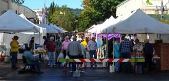 Downtown Coos Bay Farmers Market, Behind: a view from behind the booths