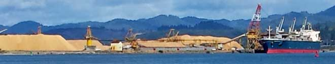 Roseburg Chip exporting facility at North Bend, Behind: Working Coos Bay boat