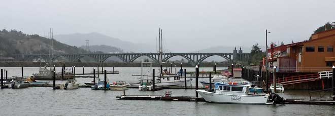 Gold Beach Marina, Behind: Mouth of the Rogue River during a storm