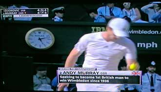 Andy Murry seeking the Wimbledon championship, Behind: Andy serving.