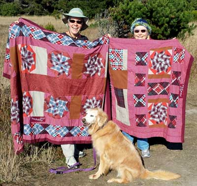 Dorana and mom show off two special quilts, Behind: close-up view of the quilts