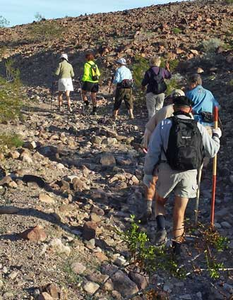 The LTVA hiking group every Thursday, Behind: The closest I've seen the wild burros