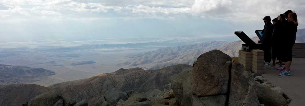 The view from Key's View, the center of Joshua Tree National Park, Behind: Panorama of the Jumbo Rocks area