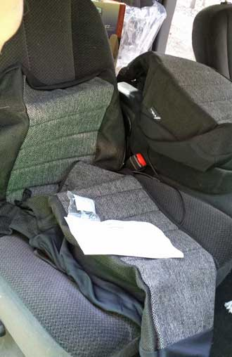 Installing seat covers, Behind: passenger side complete