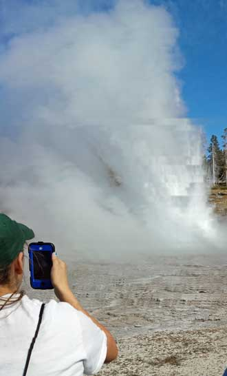 Grand Geyser, largest predictable geyser in the park erupts every 6 - 8 hours.