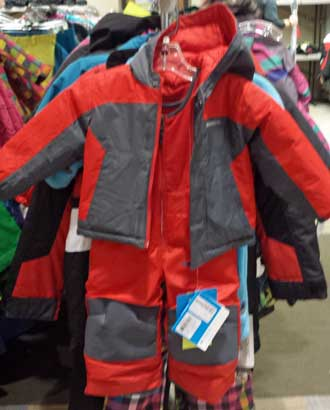 Checking out grandkid snow suits, Behind: ISU Bookstore