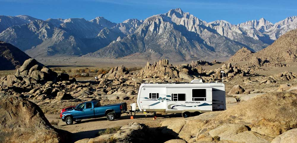 Parked in the Alabama Hills at the base of Mt. Whitney