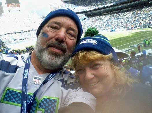 Char and Wayne at a Seattle Seahawks game