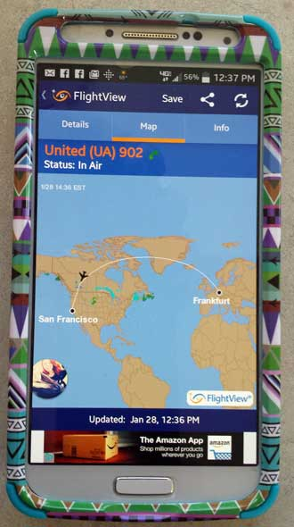 Flight tracking APP on Gwen's phone