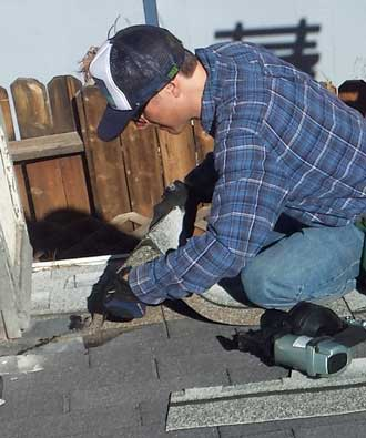 Scott was a roofer in a previous life so he knows what he is doing when replacing his own roof.