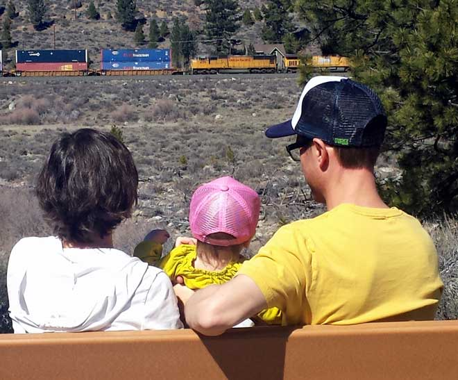 We were treated with a freight train across the Truckee River
