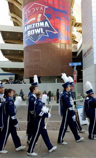 The Nevada band arrives at the stadium