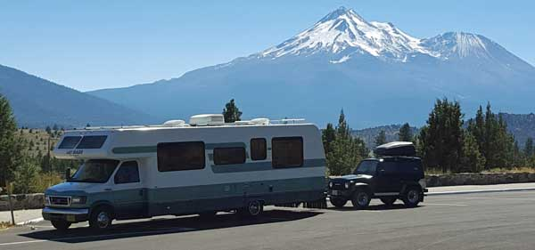 Traveling through northern California, Mount Shasta in the background