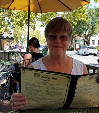 Gwen at lunch in downtown Lodi, California