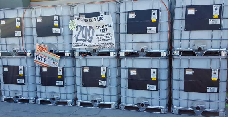 275 gallon water containers at Home Depot